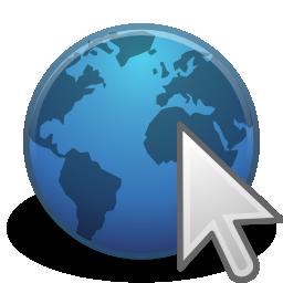 internet mappamondo icona blu