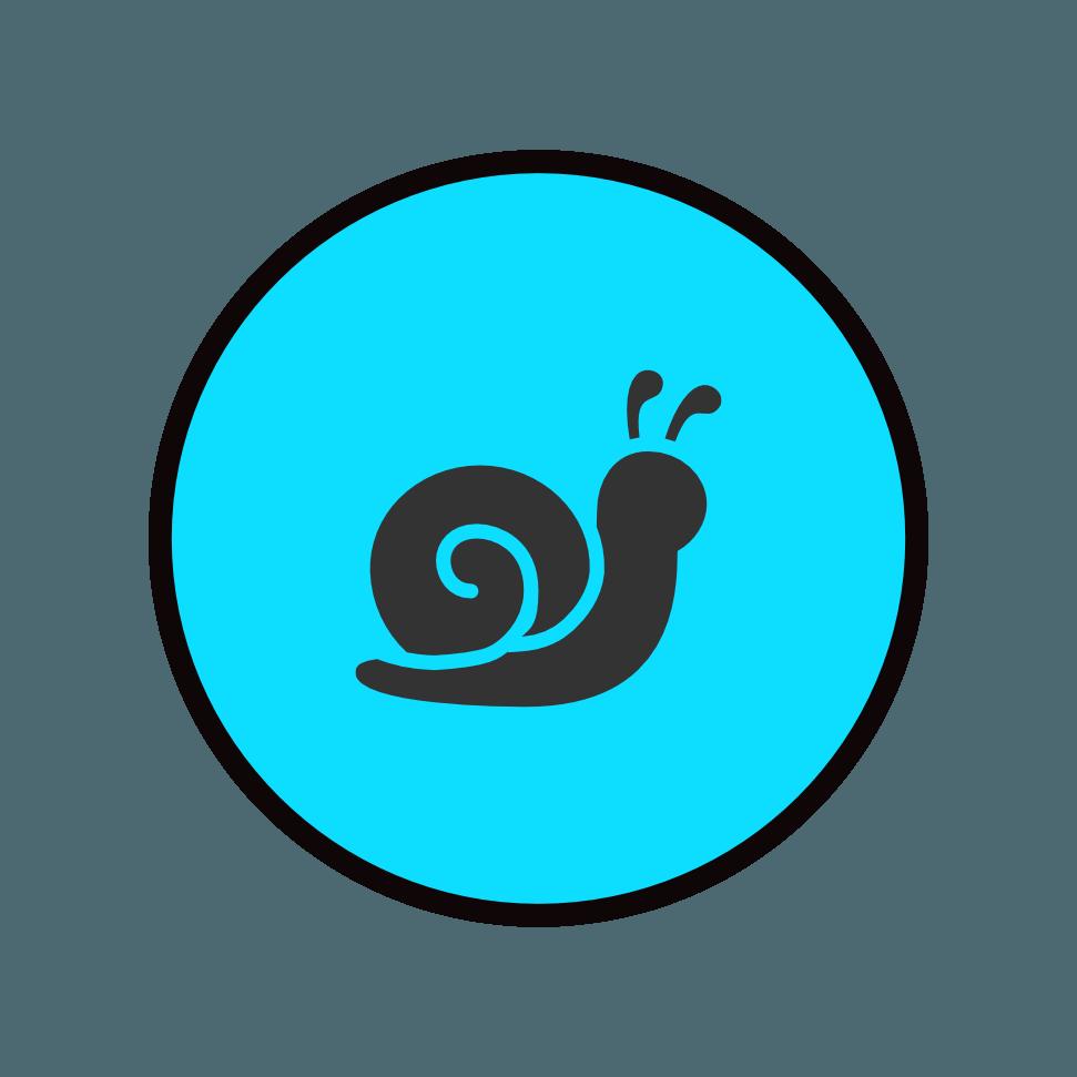 lumaca blu nera icona